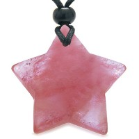 AmuletマジックFive Pointed Super Star Crystal Simulated Cherry Quartz幸運ペンダントネックレス