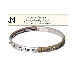 Love Is Patient , Love Is Kind 2トーンブレスレット1Corinthians 13withブックマークbyジュエリーNEXUS