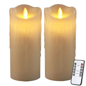 homemory 7インチ電池式ちらつきCandle Light withリモート、2パックアイボリーワックスFlameless Candleフェイクタトゥー自動on and off with 2...