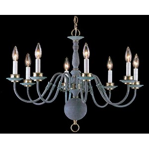 Classic Lighting Willaimsburgs 6768 V/PB Traditional Polished Brass, Chandelier, Verde with Polished Brass Accents by Classic Lighting