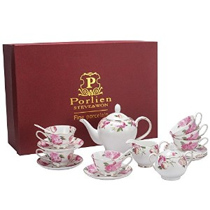 porlien 6.7-ounceティーカップ/コーヒーCup & Saucer Set withスプーン、ローズ、椿、磁器Perfectギフトセット