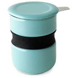 FORLIFE Curve Asian Style Tea Cup with Infuser and Lid 12 ounces, Turquoise [並行輸入品]
