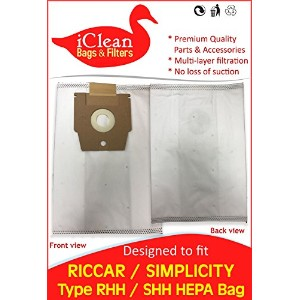 Riccar / Simplicity掃除機タイプH HEPAバッグby iClean Vacuums ICVRSHH
