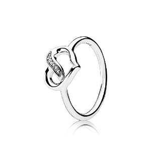 PANDORA Rings パンドラリング愛のリボン-Ribbons of Love Ring, Clear CZ