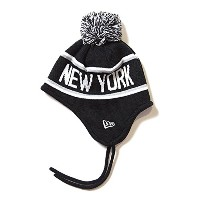 ニューエラ キッズ NEW ERA Kid's Ear Flap Pom-Pon Knit Cap NEW YORK 帽子 ブラック