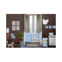 Bacati - Quilted Circles Blue and chocolate 4 piece Crib Set by Bacati