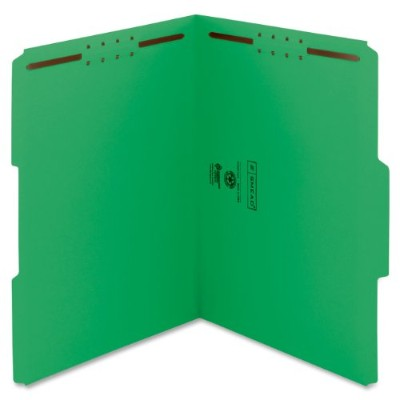 Folders, Two Fasteners, 1/3 Cut Assorted Top Tab, Letter, Green, 50/Box (並行輸入品)