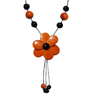 Les Poulettes Jewels–Tagua Neckletオレンジとブラックフラワー