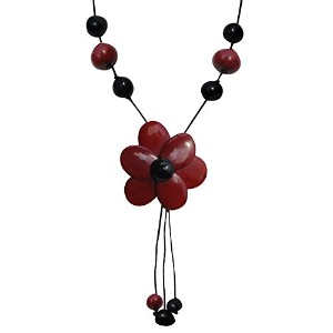 Les Poulettes Jewels–Tagua Neckletレッドandブラックフラワー