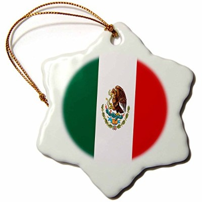 3droseフラグ – Mexican Flag – Ornaments 3 inch Snowflake Porcelain Ornament orn_4564_1