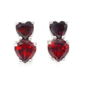 3 Ct Garnet CZ Double Heart Stud Earrings .925 Sterling Silver Rhodium Finish