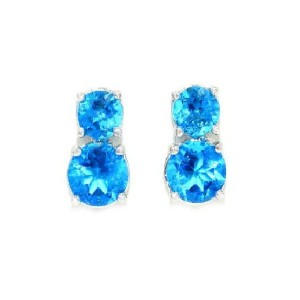 3 Ct Swiss Blue Topaz CZ Round Double Stud Earrings .925 Sterling Silver Rhodium Finish