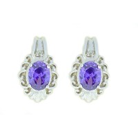 3 Ct Amethyst & Diamond Oval Stud Earrings .925 Sterling Silver Rhodium Finish