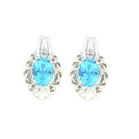 3 Ct Simulated Blue Topaz & Diamond Oval Stud Earrings .925 Sterling Silver Rhodium Finish