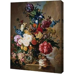 Poppies Peonies And Other Flowers In Aテラコッタ花瓶by Jan van Os–ギャラリーWrapped Gicleeキャンバスアートプリント–...