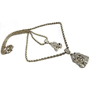 """Double Layered Necklace with Praying Hands & Jesus面ペンダント–24"""" & 30""""ロープチェーン"""