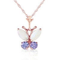 """K14 Rose Gold 18"""" Necklace with Opal and Tanzanite Butterfly Pendant"""