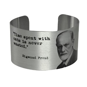 Cats and Sigmund Freud Quoteアルミカフブレスレット
