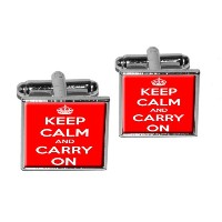 Keep Calm and Carry On Red Square Cufflink Set–シルバー