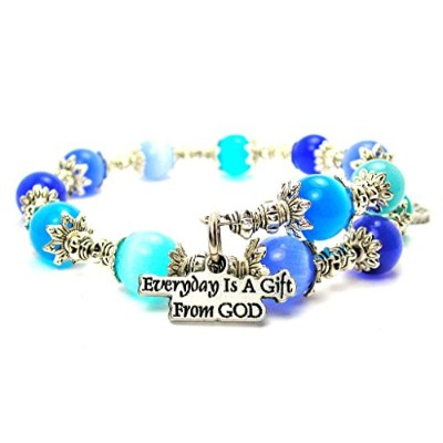 Everyday Is a Gift from God Cat 's Eye Wrap Charm Bracelet inサファイアブルーとアクアブルー
