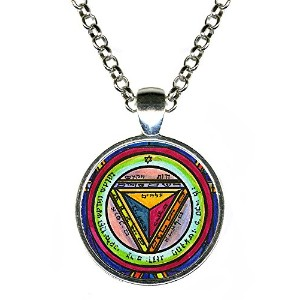 """Solomons 7th Pentacle of the Saturn to make others震えat Your Words 1""""シルバーペンダント"""