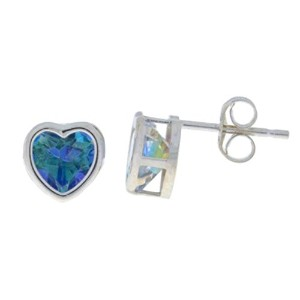 2 Ct Blue Mystic Topaz Heart Bezel Stud Earrings .925 Sterling Silver