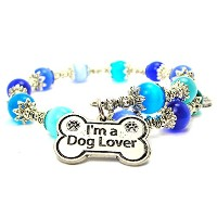 I ' m a Dog Lover Cat 's Eye Wrap Charm Bracelet inサファイアブルーとアクアブルー