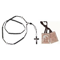 ヘマタイト&クリアクリスタルロザリオincls Free Trad Simon Scapular Lady 's Promise Blessed by Pope Francis