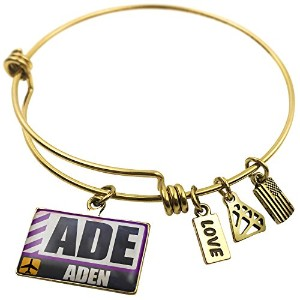 Expandable Wire Bangleブレスレット空港コードADE Aden、NEONBLOND