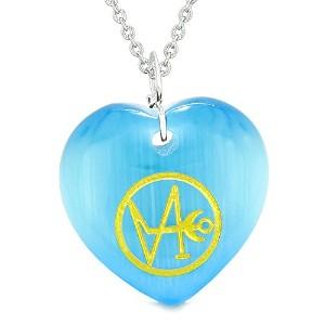 Archangel Gabriel Sigil Magic Amulet PlanetエネルギーPuffy HeartブルーSimulated Cats Eye 18インチネックレス