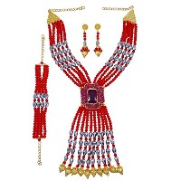 Banithani Indian Ethnic Rani HaarネックレスセットDesigner Strand Beaded Bollywoodジュエリー