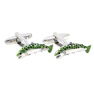 mendepotロジウムメッキノベルティ魚カフリンクTrout Fish Cufflink with aギフトボックス