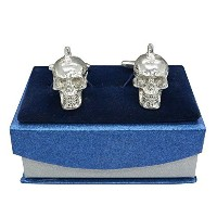 "「ラグジュアリーFineスチームパンクMohawk Skull "" Pewter Cufflinks、Handcast by William Sturt"