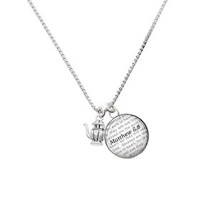 "Silvertone Tea Pot – Bible verse Matthew 5 : 8ガラスドームNecklace , 18 "" + 2 """