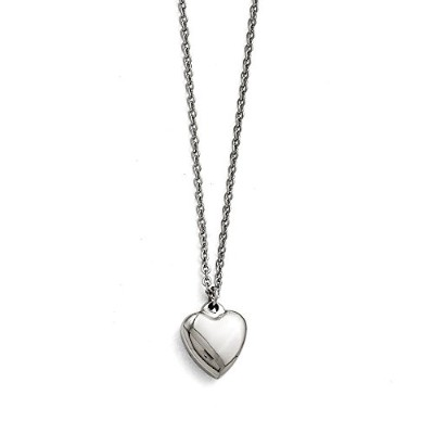 ChiselステンレススチールPolished Heart With 1.50で。EXT。ネックレス–16.25インチ