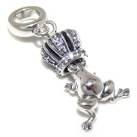 Proジュエリー925 Solid Sterling Silver Dangling Frog and Crownクリアクリスタル付きチャームビーズ