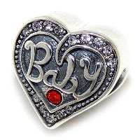 Proジュエリー925Solid Sterling Silver ' Baby ' Heart with赤とクリアクリスタルチャームビーズ