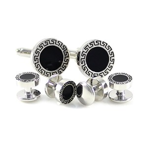 mendepotアンティークシルバートーンギリシャBorder Round Cuff Link andシャツStuds Formal Wear Set Withボックス