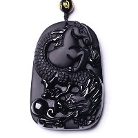 Handmade Carved Obsidian LuckyラッキーWealthyドラゴン馬ペンダントネックレス