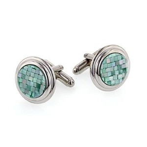 J。J。WestonグリーンMother of Pearl Cufflinks。Made In The u.s.a