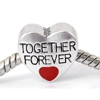 Best Wingジュエリー「Together Forever Love」ハートチャームビーズスネークチェーンチャームブレスレット