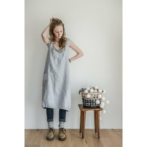 not PERFECT LINEN | PINAFORE - SQUARE CROSS LINEN APRON (washed silver) | エプロン