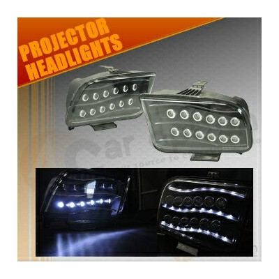 Ford Mustang ヘッドライト 05-09 Ford Mustang High Power LED Projector Headlights Black Housing 05...