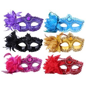 Zhhlinyuan 仮面 6 Pieces Masquerade Masks Halloween Masks Evening Prom Venetian Mardi Gras Party 4860#
