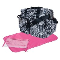 Trend Lab Deluxe Duffle Style Diaper Bag, Midnight Fleur Damask by Trend Lab