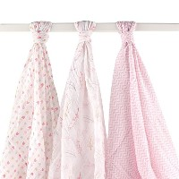 Hudson Baby Muslin Swaddle Blankets, Pink Feathers by BabyVision