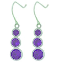 3 Bezel Amethyst CZ Dangle Earrings .925 Sterling Silver Rhodium Finish