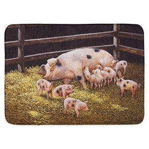 "Caroline 's Treasures bdba0296rug "" Pigs Piglets at dinner time ""フロアマット、19 "" x 27インチ、マルチカラー"