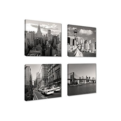 Canvas Print for Home Decoration 4 Panels New York City Landmark Painting Wall Art Picture Print on...