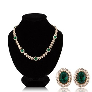 Fashion Plazaリーフ形状ネックレスand Earring Set withキュービックジルコニアs4